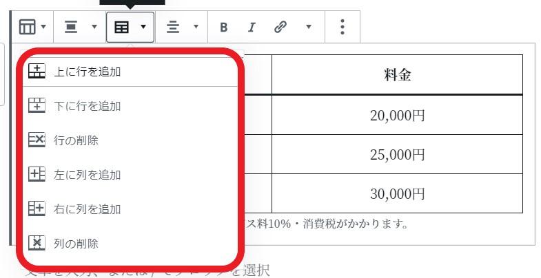 表の行列の追加・削除(イメージ)