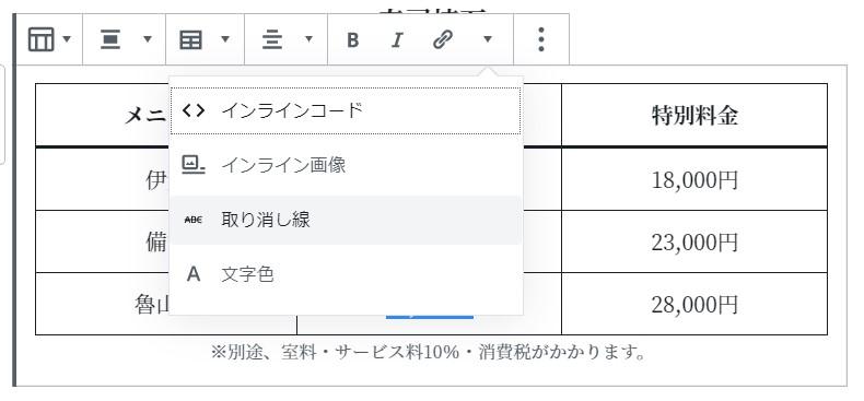 表の文字スタイル変更(イメージ)